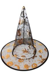 Детская черно-оранжевая шляпа ведьмы