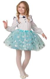 Детская голубая юбка со снежинками