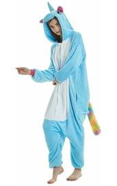Кигуруми голубой Единорог с радужным хвостом