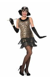 Черно-золотое платье девушки из 20х