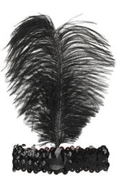 Повязка на голову с пером черная