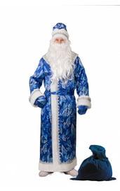 Взрослый синий костюм Деда Мороза с принтом