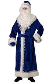 Взрослый синий велюровый костюм Деда Мороза