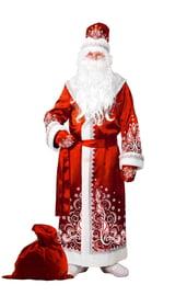 Взрослый сатиновый красный костюм Деда Мороза