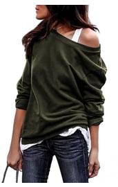 Зеленый свитшот на одно плечо