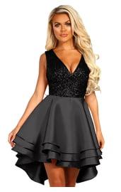 Черное платье с блестящим лифом
