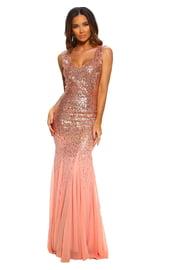 Розовое платье в пол с блестками