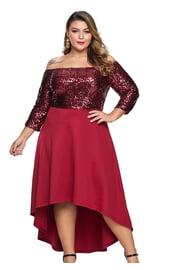 Красное платье с блестками Плюс