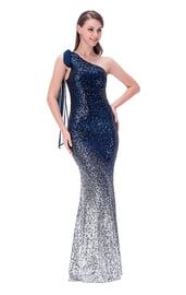 Синее блестящее платье в пол
