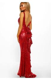 Красное блестящее платье в пол