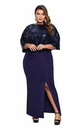 Синее платье с блестящей накидкой Плюс