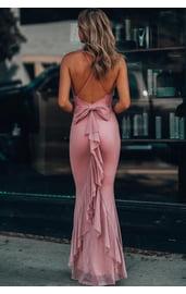 Розовое платье с бантом сзади