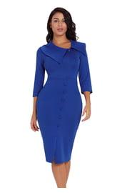 Синее классическое платье