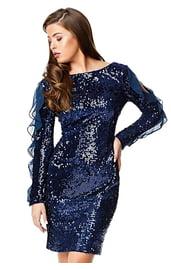 Синее блестящее платье с оборками