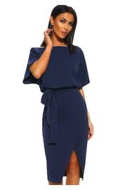 Стильное темно-синее платье с поясом