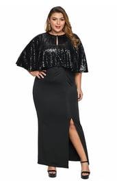 Черное платье с блестящей накидкой Плюс
