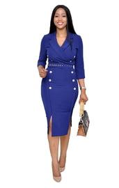 Синее стильное платье