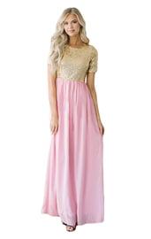 Золотисто-розовое платье в пол