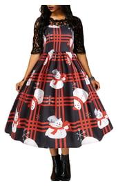 Расклешенное платье с принтом снеговика