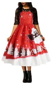 Расклешенное платье с новогодним принтом