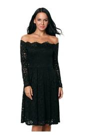 Черное кружевное платье с длинными рукавами