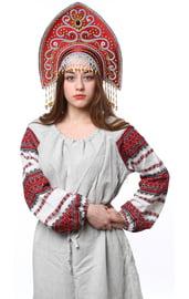 Бордовый кокошник Ярославна в золоте