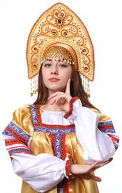 Золотой кокошник Ярославна с красным
