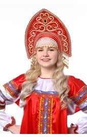Кокошник Ярославна красный в золоте