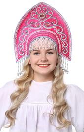 Малиновый кокошник Ярославна в серебре