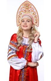 Белый кокошник Ярославна в золоте с красным