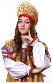 Золотой кокошник Девичий с красным