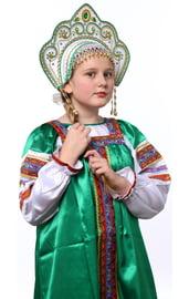Белый кокошник Фантазия в золоте с зеленым