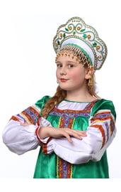 Детский белый кокошник Купола в золоте