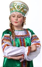 Белый кокошник Княжна в золоте с зеленым