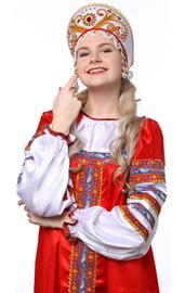 Белый кокошник Княжна в золоте с красным