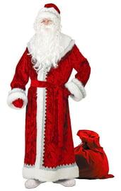 Взрослый красный велюровый костюм Деда Мороза