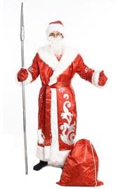Взрослый красный костюм Деда Мороза из парчи