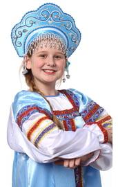 Детский бирюзовый кокошник Купола в серебре