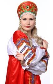 Красный кокошник Княжна в золоте с зеленым