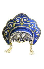 Детский синий кокошник Купола в золоте