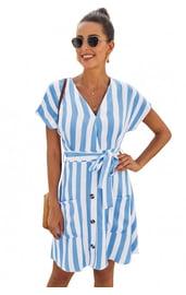 Полосатое бело-голубое платье мини