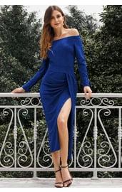 Блестящее платье миди с открытыми плечами
