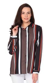 Женская черно-коричневая полосатая рубашка