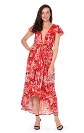 Красное платье макси с принтом