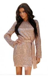 Блестящее платье мини с поясом