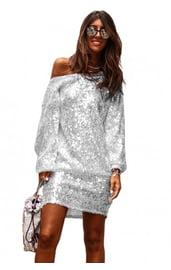 Блестящее платье мини на одно плечо