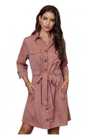 Розовое платье-рубашка с поясом