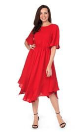Красное платье миди с асимметричным подолом