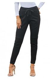 Черные брюки с завязкой на поясе
