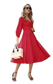 Винтажное красное платье миди